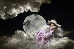 WomanFantasy-DreamingOnCloudsPinkDressFullMoon